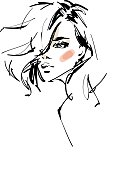 Sketch of a young beautiful woman with a modern hairstyle. Vector illustration