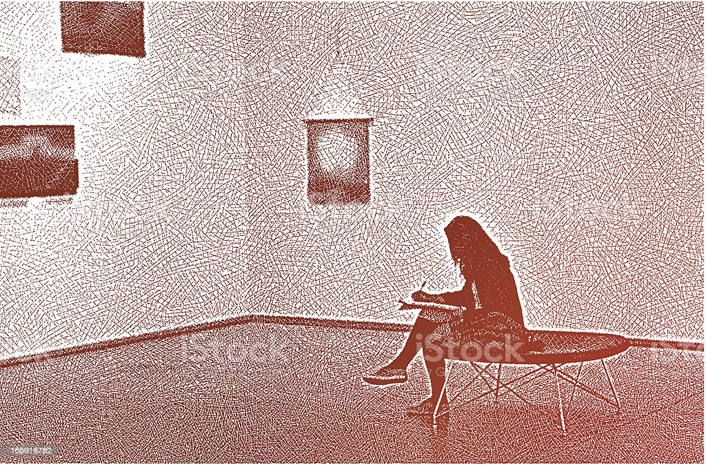 Woman Sketching In Art Gallery royalty-free woman sketching in art gallery stock vector art & more images of adult