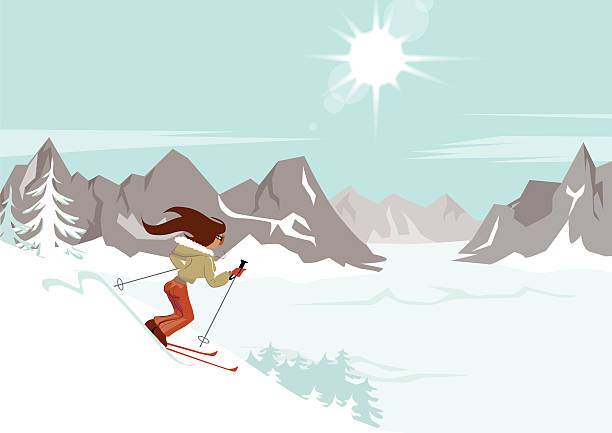 Frau Skifahren verschneiten Hang – Vektorgrafik