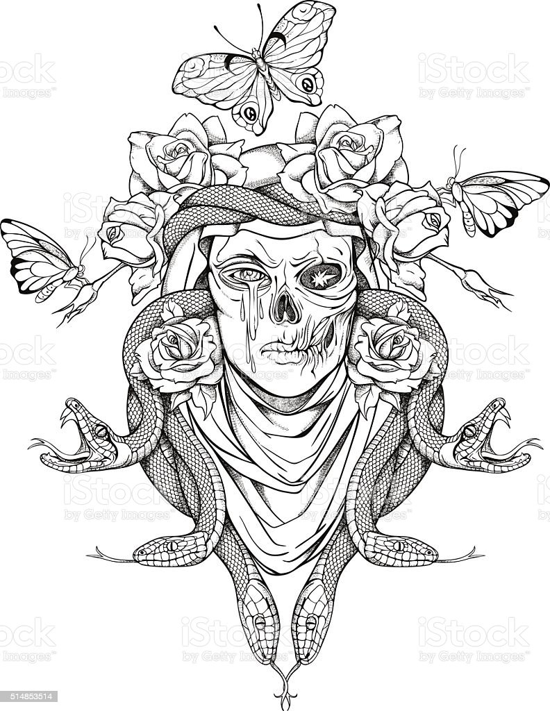 woman skull, snakes, butterflies and flowers vector art illustration