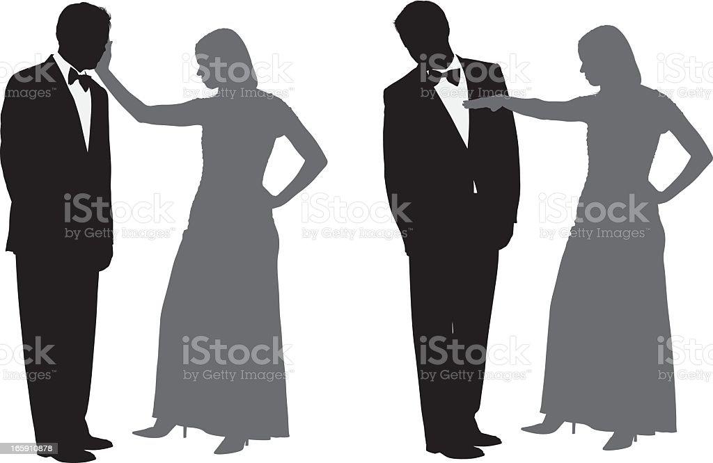 Woman slapping a man vector art illustration