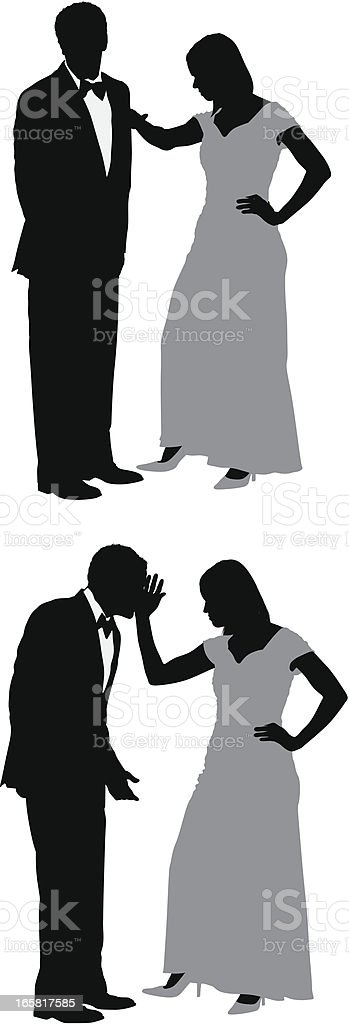Woman slapping her husband royalty-free stock vector art