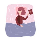 Woman sleeping and dream. Girl fell asleep reading books.