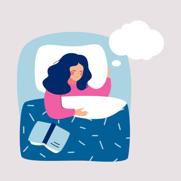 Woman sleeping at night in his bed and sees dream, in speech bubble. Woman sleeping at night in his bed and sees dream, in speech bubble. Human character Vector illustration. children only stock illustrations
