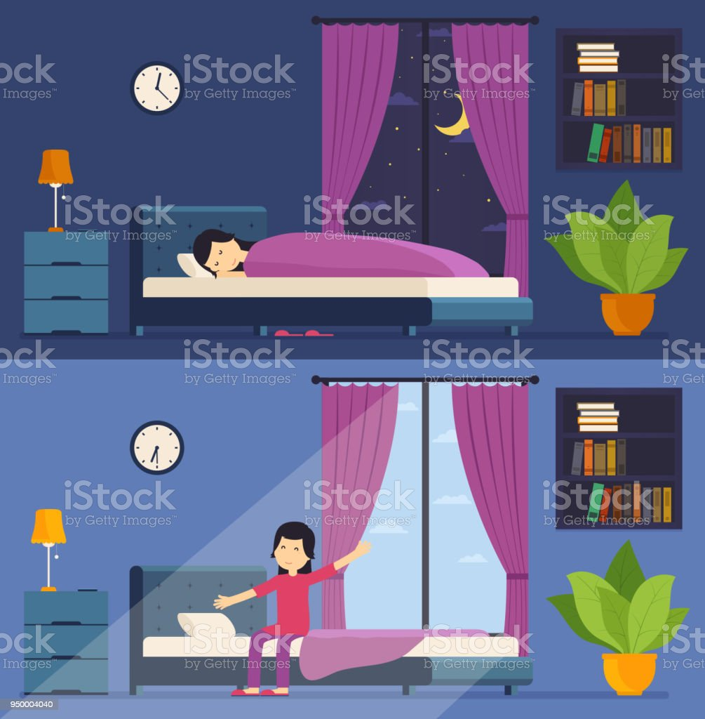 Woman Sleeps In Bed Night And Wakes Up The Morning Stretching