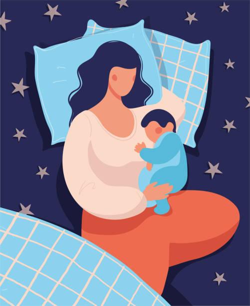 bildbanksillustrationer, clip art samt tecknat material och ikoner med en kvinna sover med sitt nyfödda barn på natten i sängen. konceptuell illustration av amning, säker sömn med barnet, moderskap, vård och avkoppling. platt vektorillustration. - baby sleeping