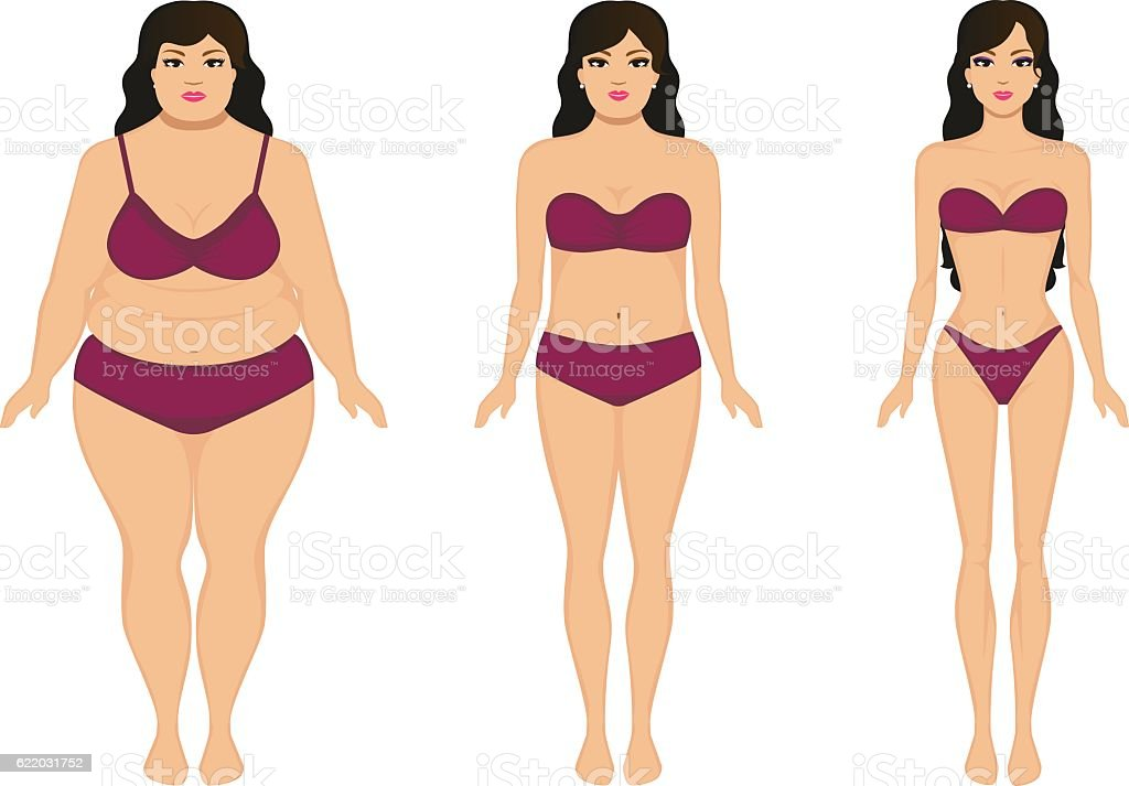 Woman slimming, fat slim girl, female weight loss vector art illustration
