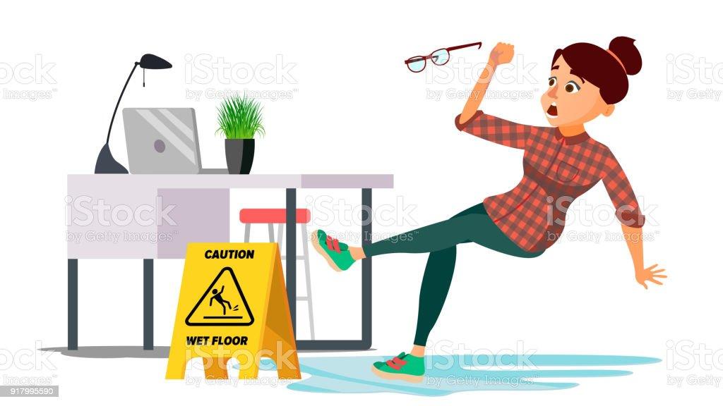 Frau rutscht auf nassem Boden Vektor. Vorsicht Zeichen. Flache Cartoon Character Illustration isoliert – Vektorgrafik