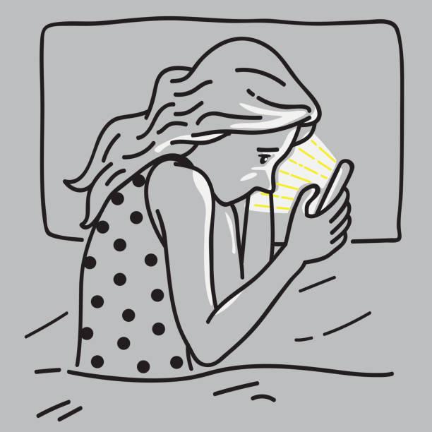 ベッドの上の女性のスマート フォン中毒 - スマホ ベッド点のイラスト素材/クリップアート素材/マンガ素材/アイコン素材