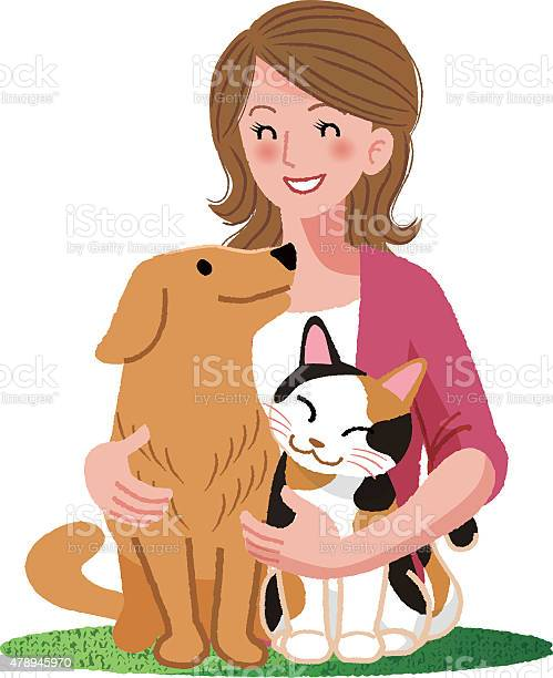 Woman smiling with furry friends vector id478945970?b=1&k=6&m=478945970&s=612x612&h=tkv1 k k2irkvus6wha oqpgeujasatn8yaitljzlj0=