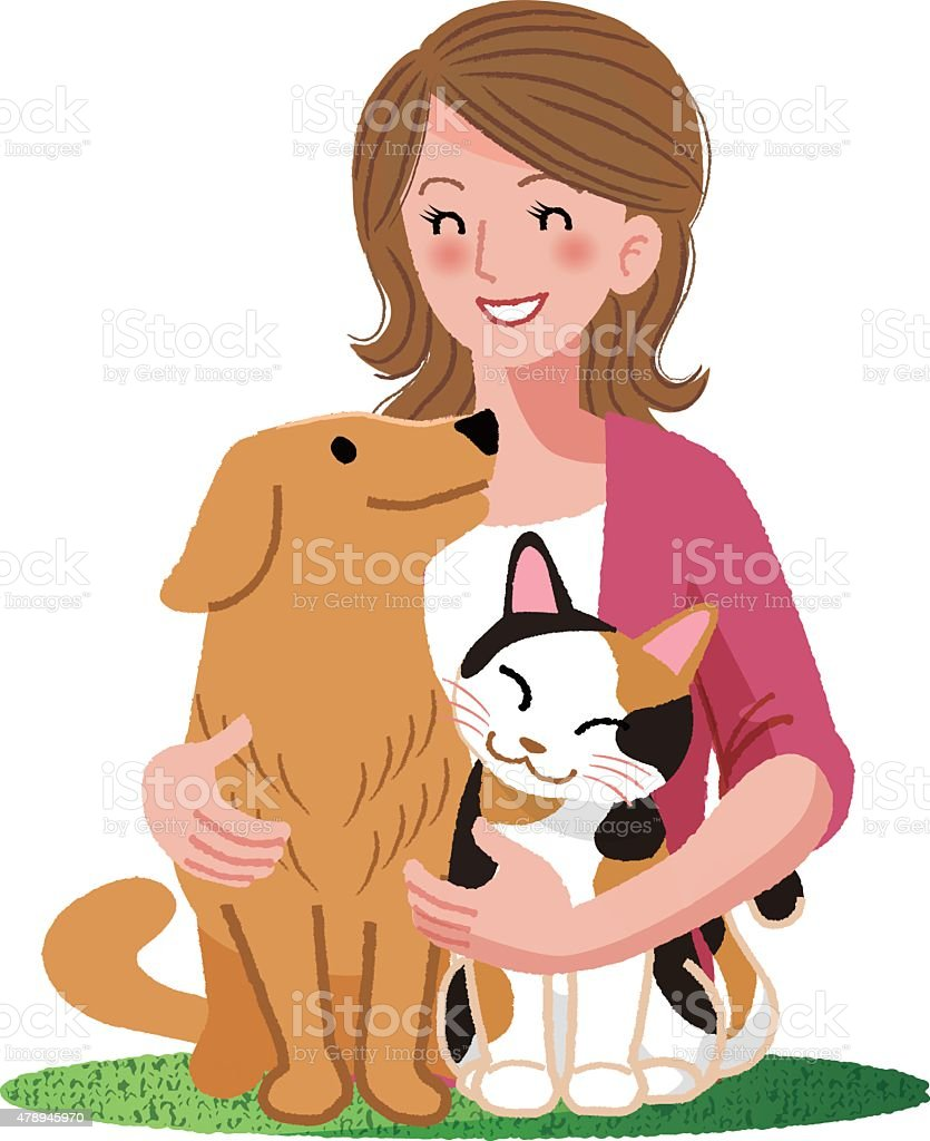 Woman smiling with furry friends vector art illustration