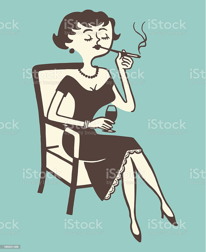 Woman Smoking and Drinking royalty-free woman smoking and drinking stock vector art & more images of adult
