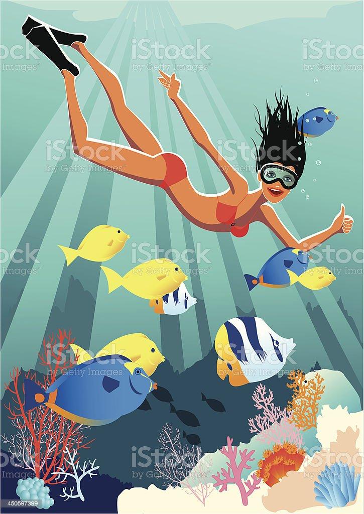 Woman snorkeling royalty-free stock vector art
