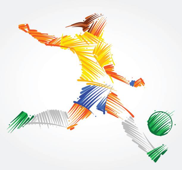 stockillustraties, clipart, cartoons en iconen met vrouw voetballer de bal schoppen - soccer player