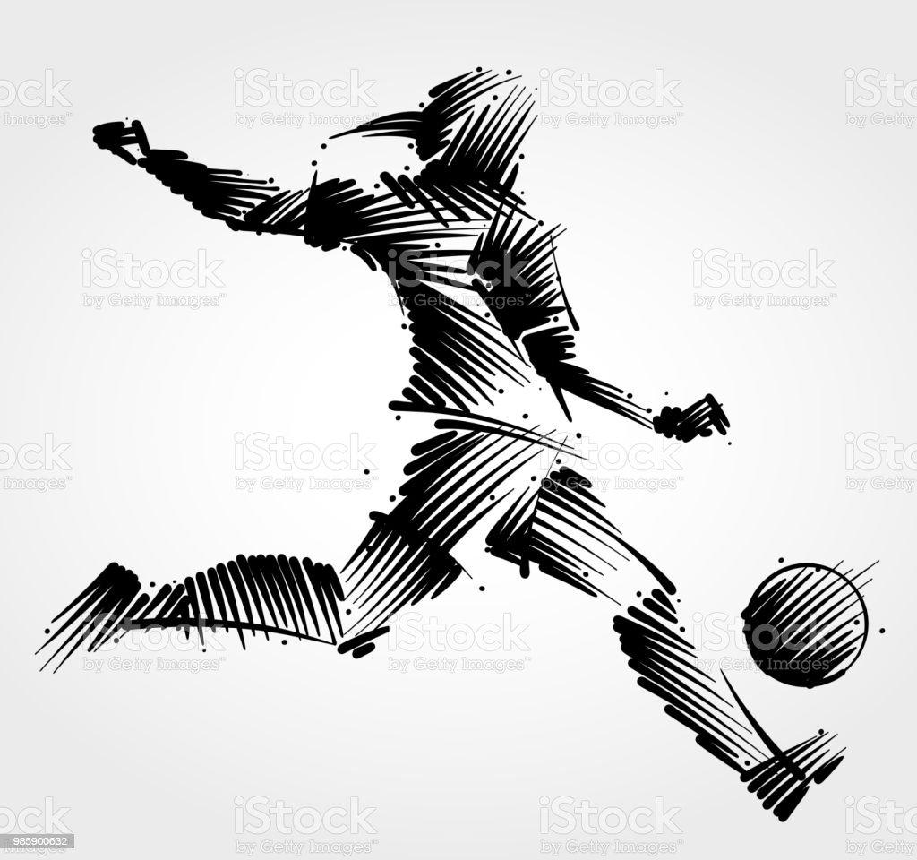 Vrouw voetballer de bal schoppen - Royalty-free Actieve levenswijze vectorkunst