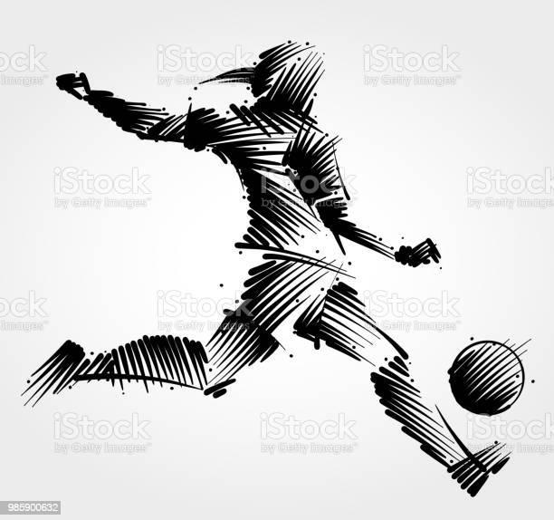 Vrouw Voetballer De Bal Schoppen Stockvectorkunst en meer beelden van Actieve levenswijze