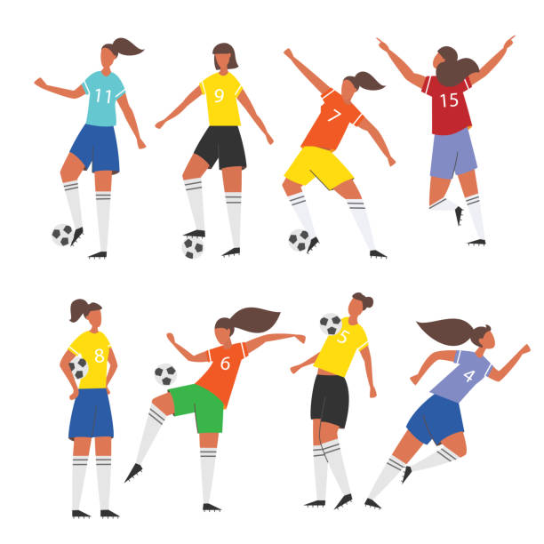 stockillustraties, clipart, cartoons en iconen met vrouwenvoetbal spelers. vrouwelijke voetbal vector illustratie. - soccer player