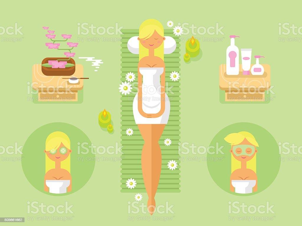 Woman spa design flat vector art illustration