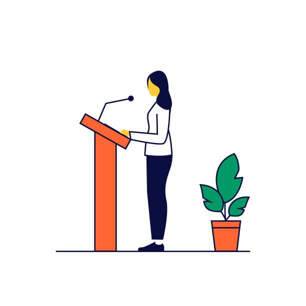 woman speaking in public - presidential debate stock illustrations