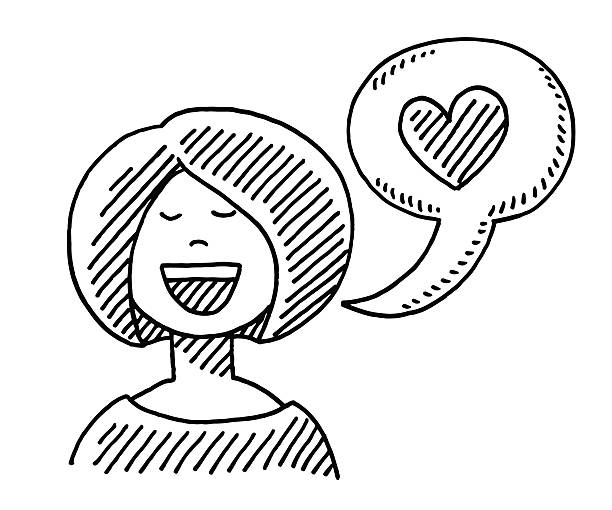 Woman Speech Bubble Love Heart Drawing Hand-drawn vector drawing of a Woman and a Speech Bubble with a Love Heart. Black-and-White sketch on a transparent background (.eps-file). Included files are EPS (v10) and Hi-Res JPG. women stock illustrations