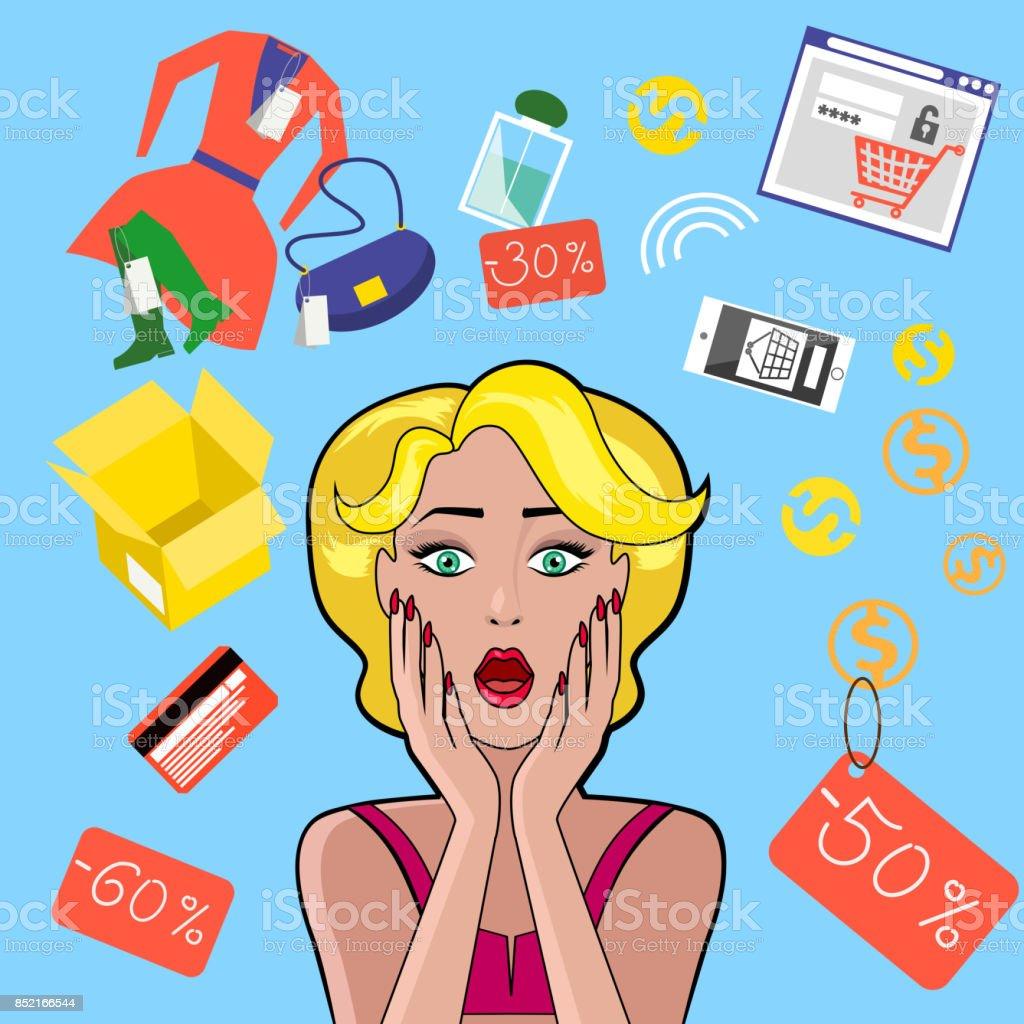 Woman Speech Bubble Sale Design Flat vector art illustration