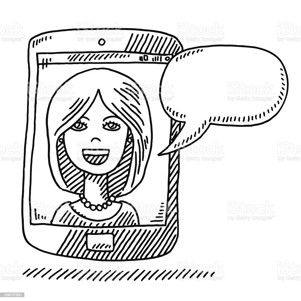 Woman Speech Bubble Smart Phone Drawing vector art illustration