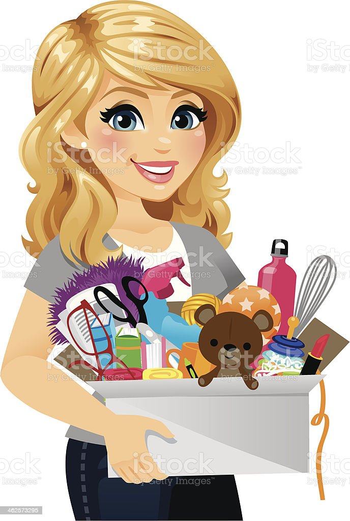 Woman Spring Cleaning A woman spring cleaning. In the box are a mix of children's toys, household items, and cleaning supplies, etc. She could also be moving or just organizing.  Adult stock vector