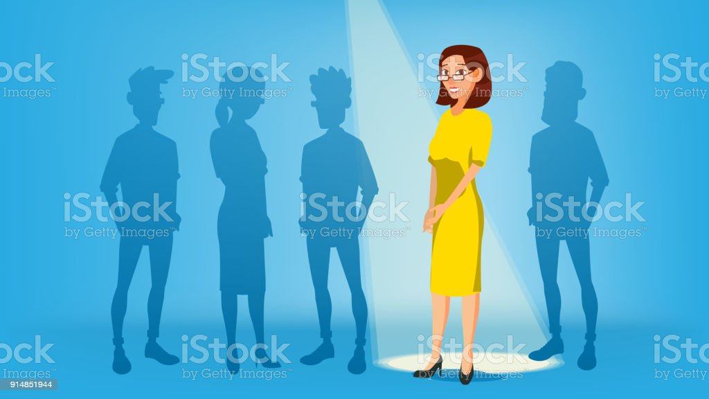 Woman Stand Out From The Crowd Vector. Job And Staff, Human And Recruitment. Business Success. Good Idea, Independence, Leadership. Flat Illustration vector art illustration