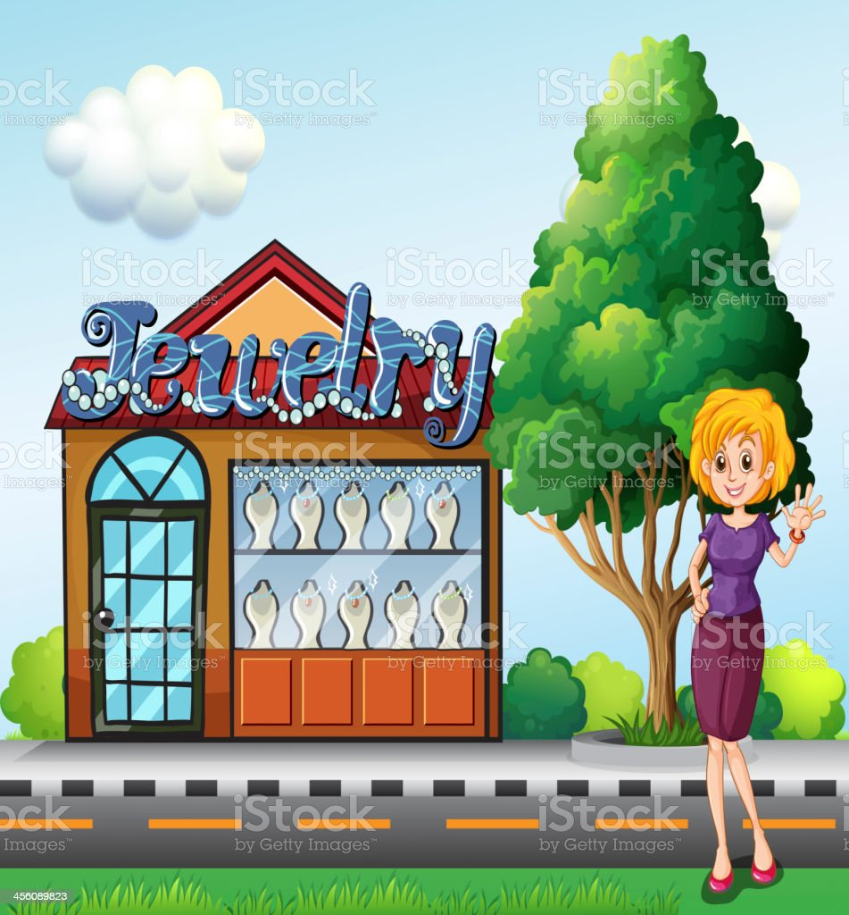 woman standing  across the jewelry shop royalty-free stock vector art