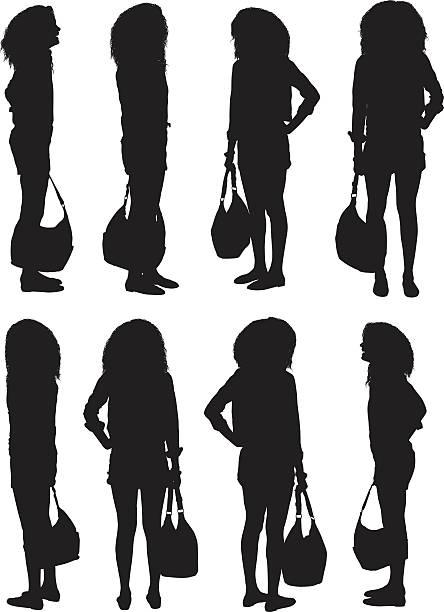 illustrazioni stock, clip art, cartoni animati e icone di tendenza di woman standing and holding handbag - ritratto 360 gradi