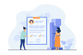 Woman standing at mammography machine for examination and disease diagnosis. Doctor holding patients medical report. Vector illustration for breast cancer prevention or medical technology concept