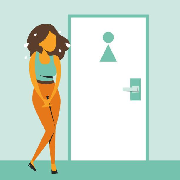 stockillustraties, clipart, cartoons en iconen met vrouw staande op de gesloten wc-deur - woman water