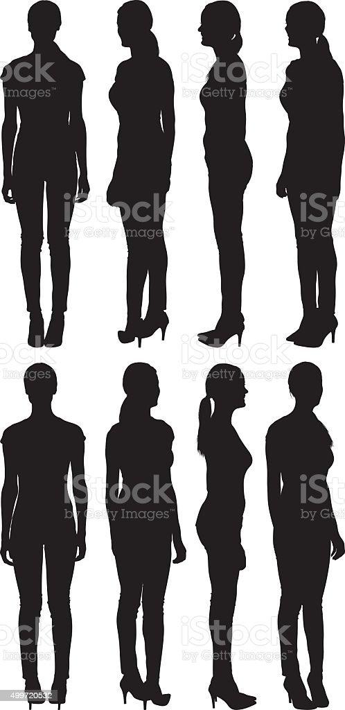 Woman standing in various views vector art illustration