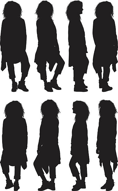 illustrazioni stock, clip art, cartoni animati e icone di tendenza di donna in piedi in vari vista - ritratto 360 gradi