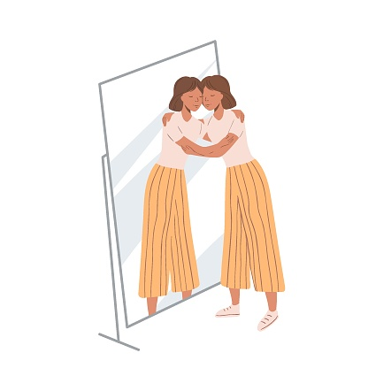 Woman standing near the mirror and hugging her own reflection. Concept of self-love and self-acceptance. Young girl and her mirroring. Flat cartoon illustration