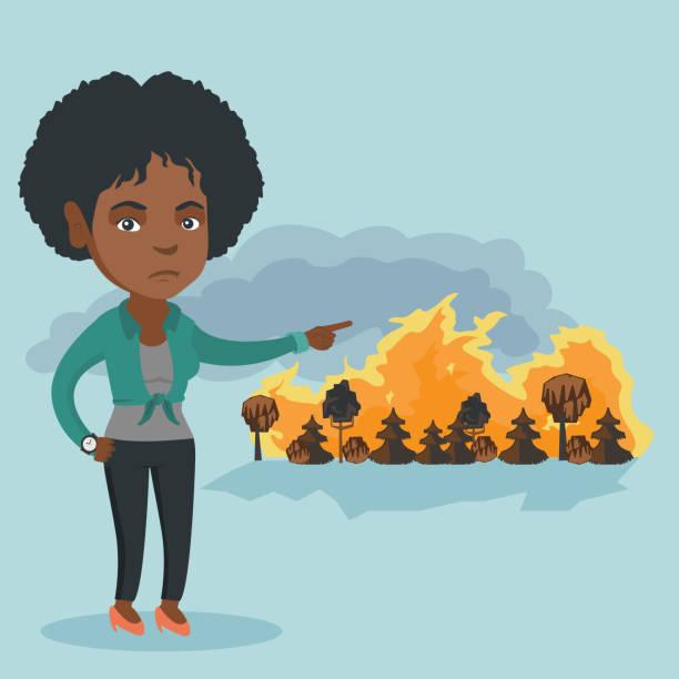 bildbanksillustrationer, clip art samt tecknat material och ikoner med kvinna som står på bakgrunden av wildfire - skog brand