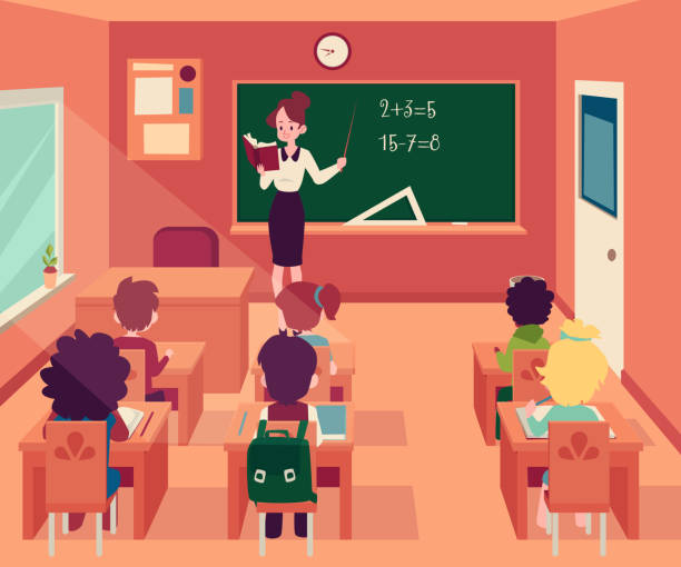 Woman stands at blackboard in classroom with children sit at desks cartoon style Woman stands at blackboard in classroom with children sit at desks cartoon style, vector illustration. Female teacher at maths lesson pointing to chalkboard and pupils, primary school education elementary school teacher stock illustrations