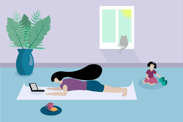 ilustrações de stock, clip art, desenhos animados e ícones de woman stands in front of laptop in house. room with child, window, vase of flowers, cat. stay home, home office, freelancer - young girl computer home front
