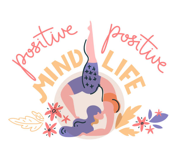 Woman stands on her elbows, vector flat illustration. Positive mind - positive life. Woman stands on her elbows, vector flat illustration. Positive mind - positive life. Hand lettering. yogi stock illustrations