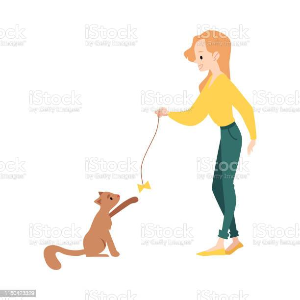 Woman stands playing with cat by teaser toy cartoon style vector id1150423329?b=1&k=6&m=1150423329&s=612x612&h=tuahep9emnrapotiduv5b1i5elutb8180aqhtfow9h0=