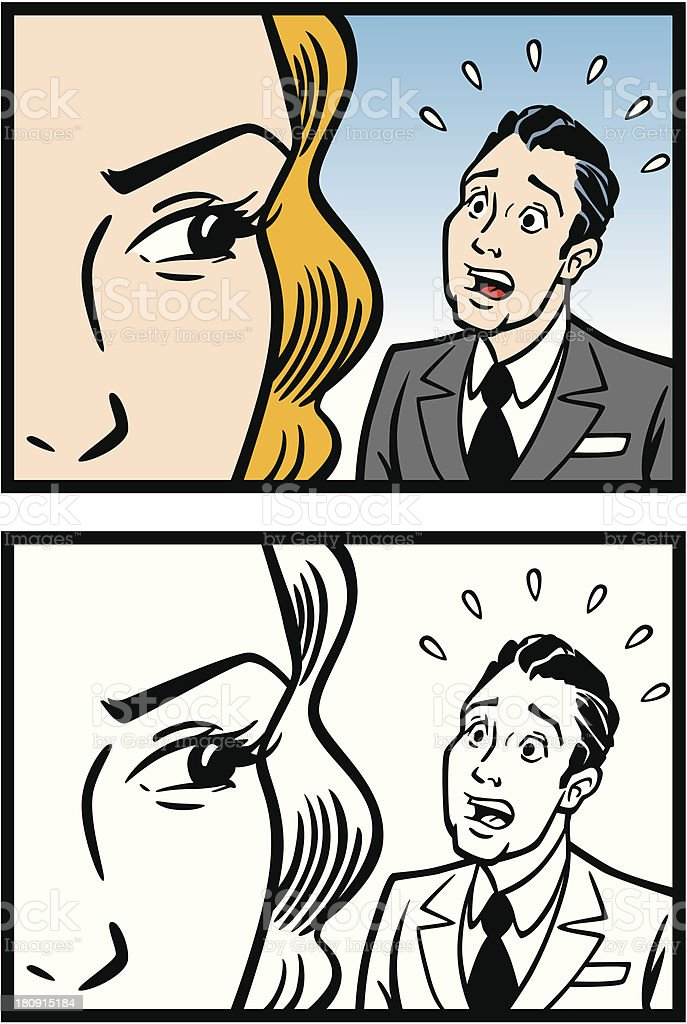 Woman Staring Man Down vector art illustration
