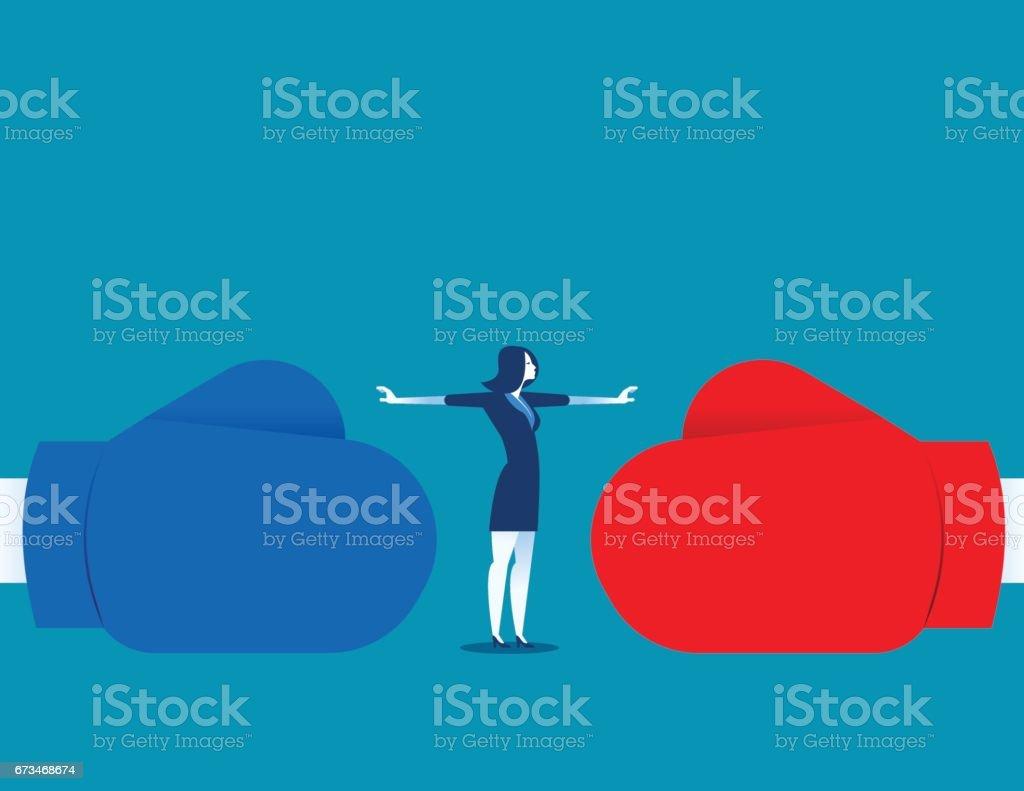 Mujer deje de conflicto o dejar de luchar. Ilustración de concepto empresarial. Vector abstracto y carácter. - ilustración de arte vectorial