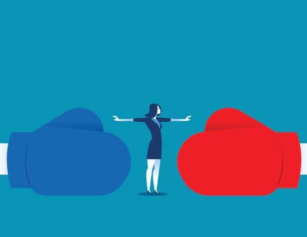 ilustraciones, imágenes clip art, dibujos animados e iconos de stock de mujer deje de conflicto o dejar de luchar. ilustración de concepto empresarial. vector abstracto y carácter. - lucha