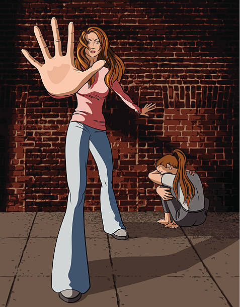 frau hält missbrauch - häusliche gewalt stock-grafiken, -clipart, -cartoons und -symbole