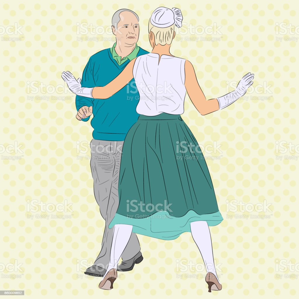 A woman stops a man. The conceptual image for context of love, jealousy, parting,  dance, addiction and other relationships. Pop art realistic vector illustration