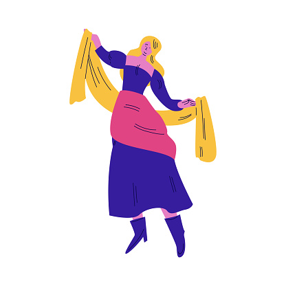 Woman street atrist in bright costume dancing during performance vector illustration