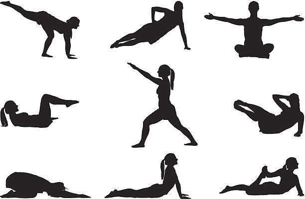 stockillustraties, clipart, cartoons en iconen met woman stretching and doing yoga - buigen lichaamsbeweging