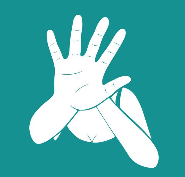 ilustraciones, imágenes clip art, dibujos animados e iconos de stock de mujer que estira la mano para la autodefensa. - dureza