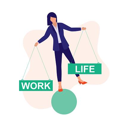 Woman Strike Balance Between Work And Life. Work-life Balance.