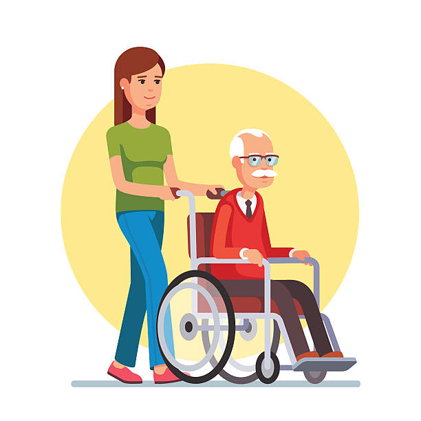 Woman strolling with elder man in wheelchair Young woman social worker strolling with elder grey haired man in wheelchair. Flat style vector illustration isolated on white background. one senior man only illustrations stock illustrations